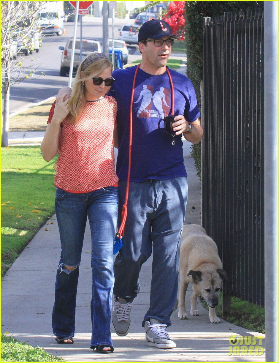 jon hamm stays comfy in sweatpants for morning dog walk 253038643