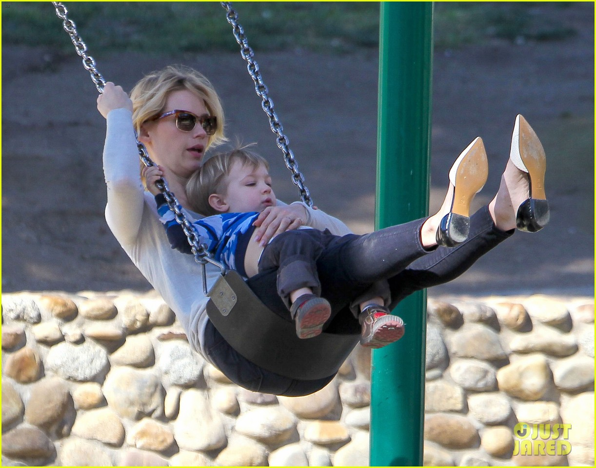 january jones joins instagram rides swings with xander 13