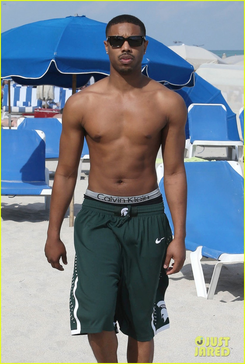 michael b jordan shirtless beach stroll with mystery girl 02