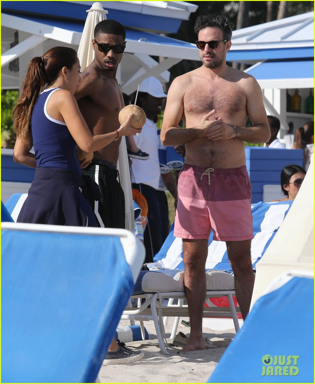 michael b jordan shirtless beach stroll with mystery girl 043040209