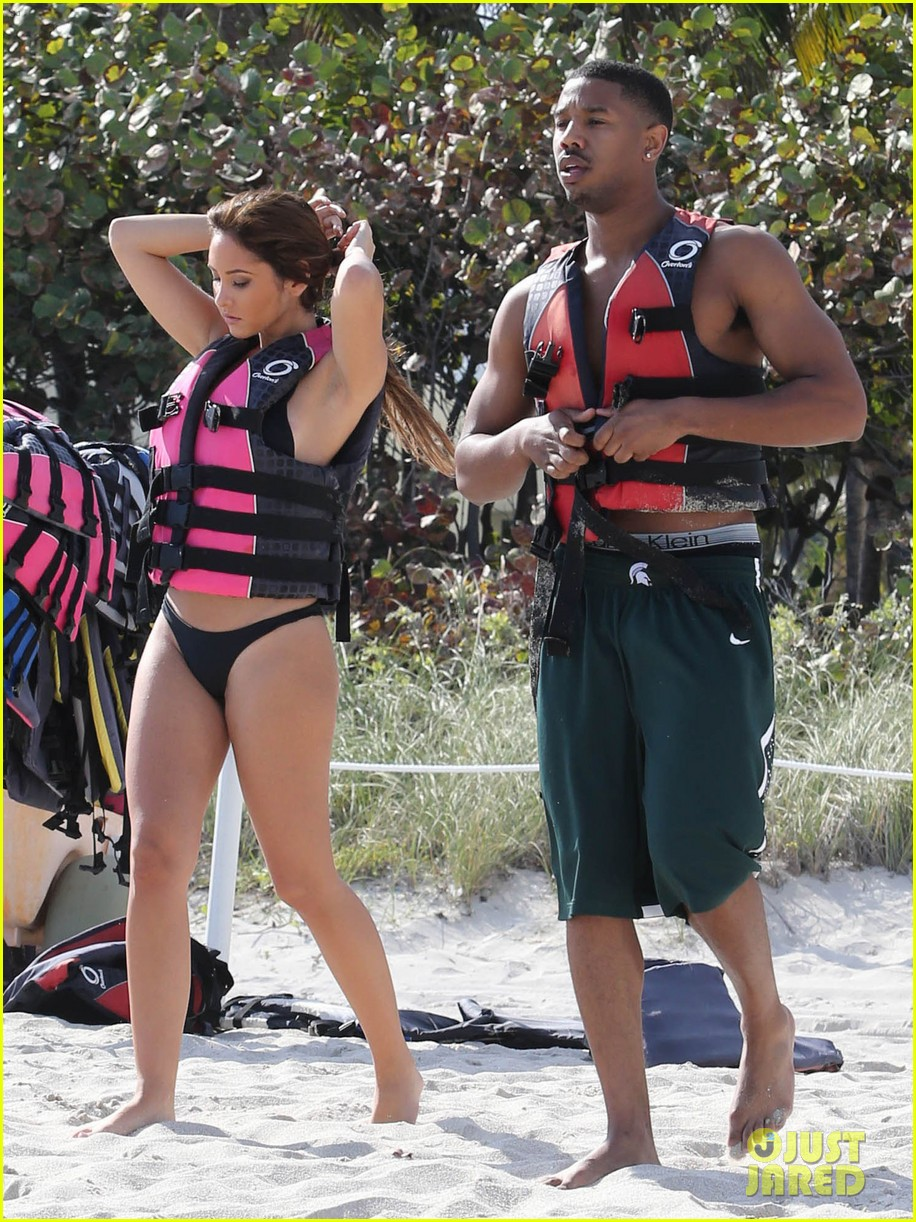 michael b jordan shirtless beach stroll with mystery girl 11