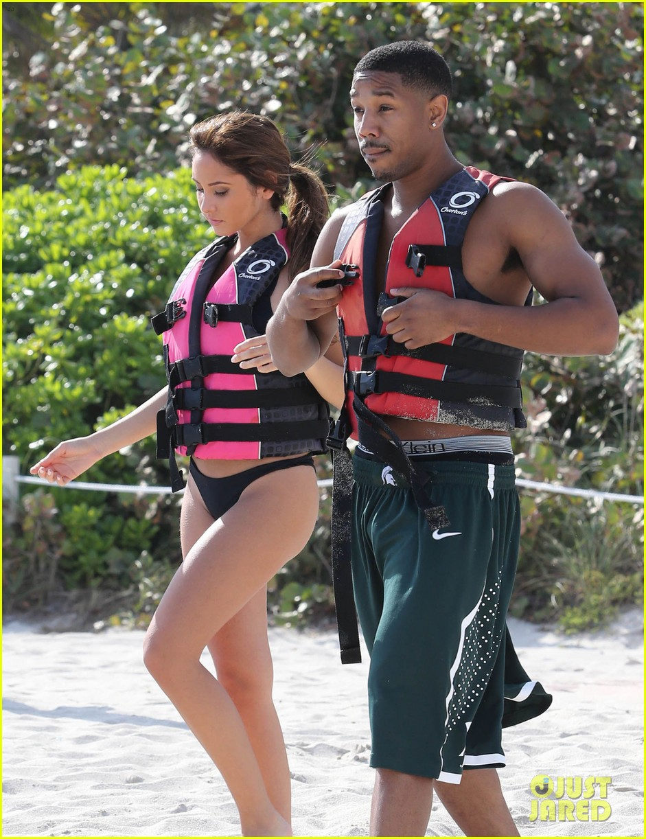 michael b jordan shirtless beach stroll with mystery girl 133040218
