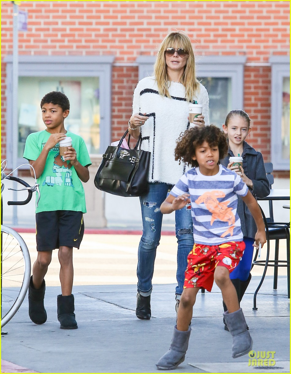 heidi klum grabs coffee before jag gym stop with the kids 20