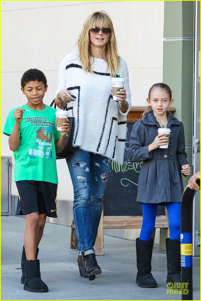 heidi klum grabs coffee before jag gym stop with the kids 24