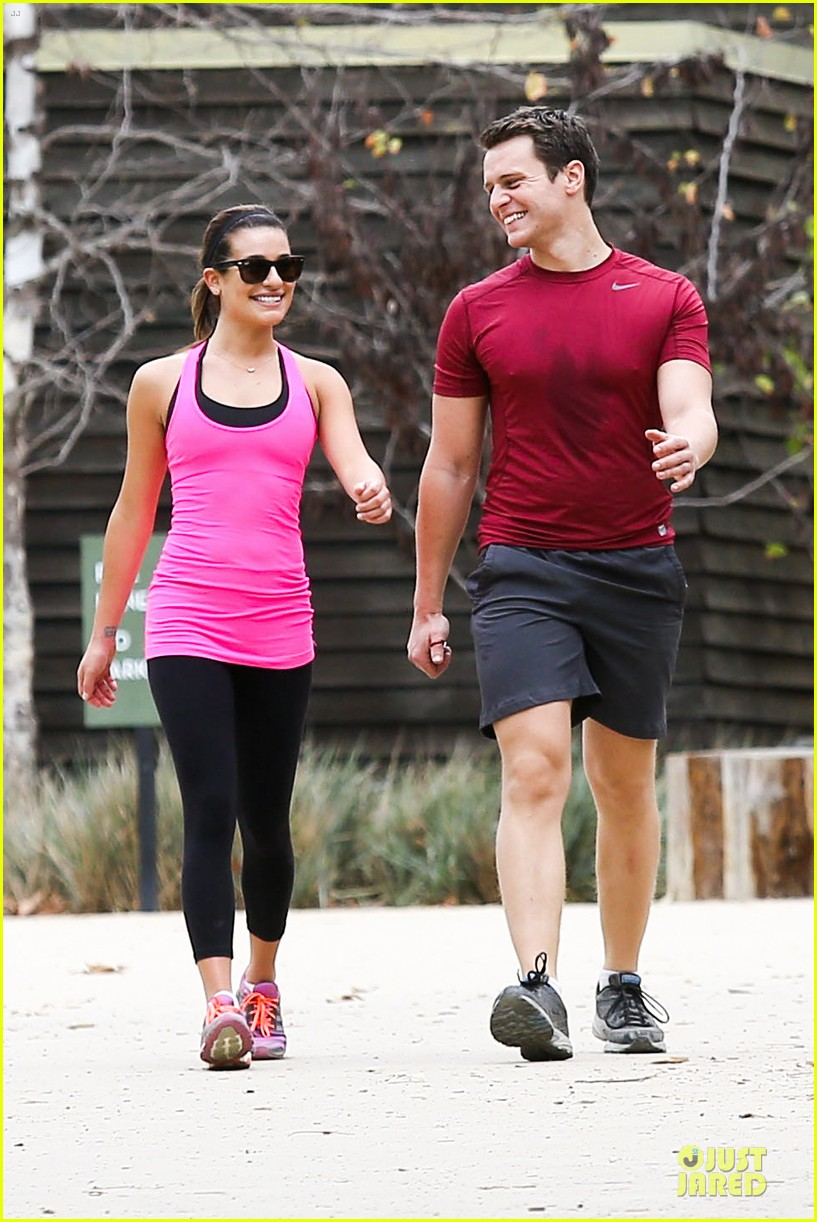 lea michele stretches with jonathan groff during hike 073039714