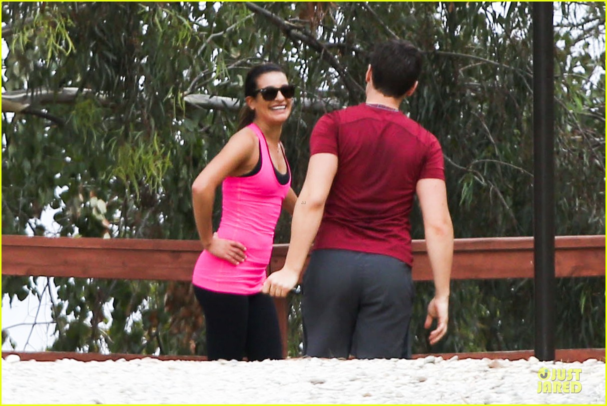 lea michele stretches with jonathan groff during hike 10