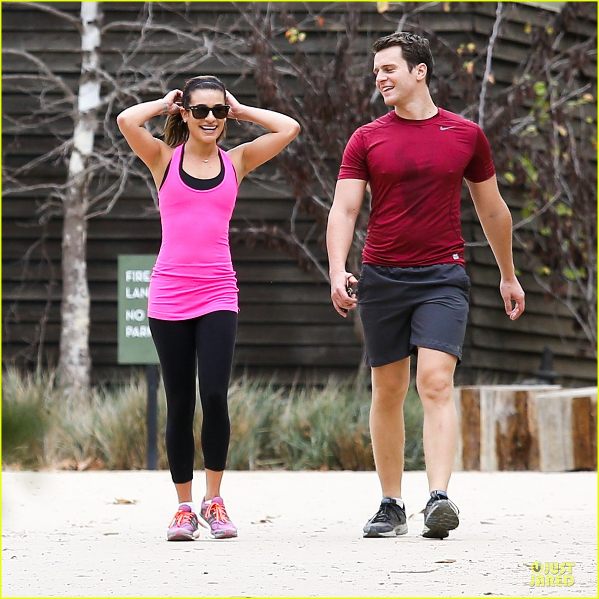 lea michele stretches with jonathan groff during hike 113039718