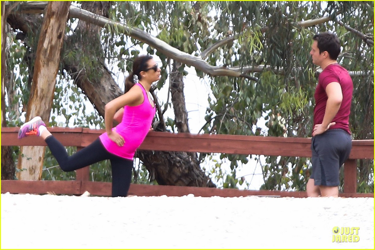 lea michele stretches with jonathan groff during hike 12