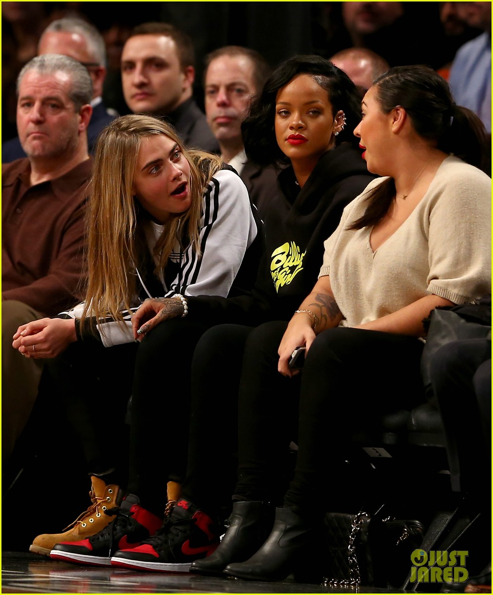 rihanna cara delevingne root for brooklyn nets 01