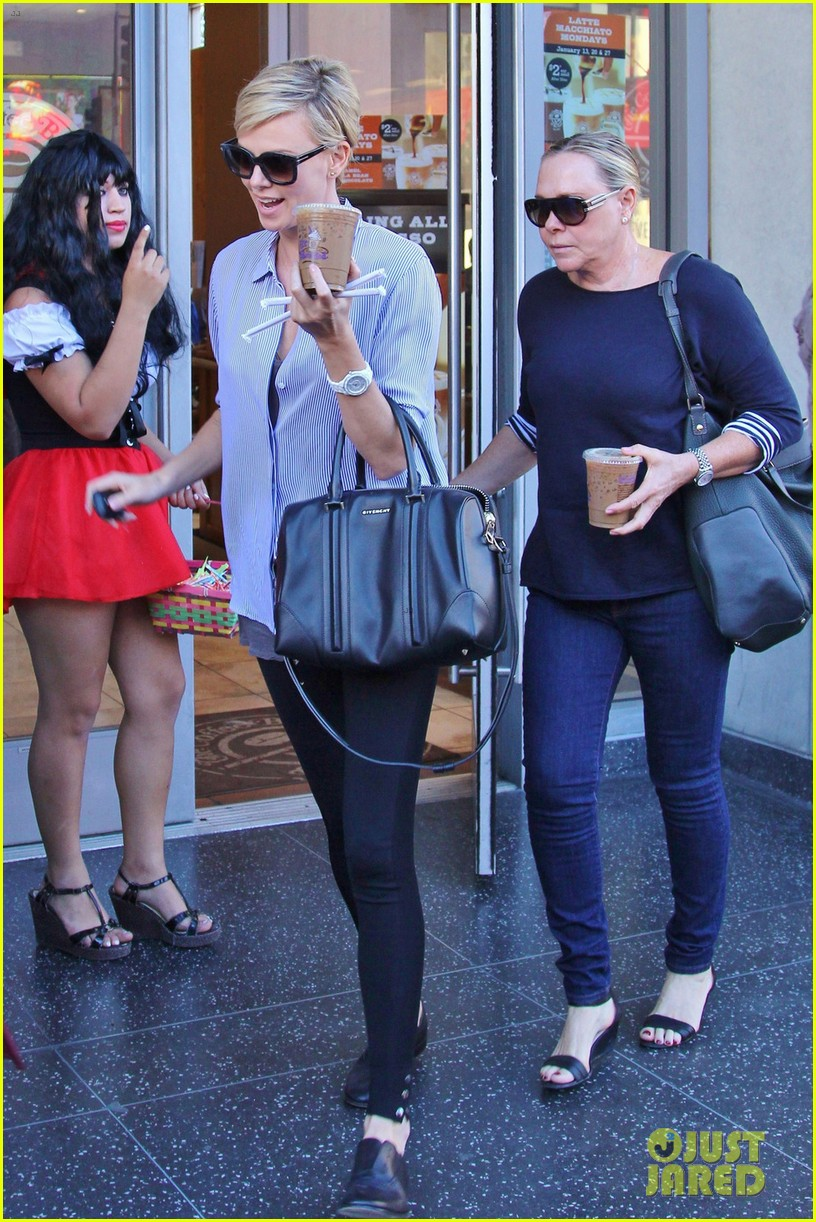 charlize theron picks up coffee on hollywood boulevard 073032236
