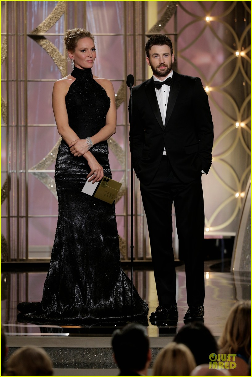 uma thurman chris evans golden globes 2014 presenters 013029796