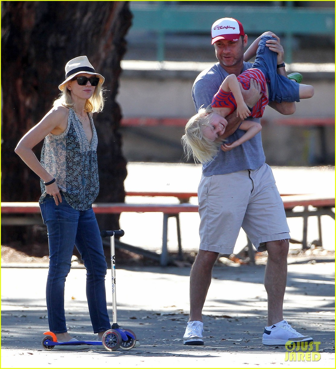 naomi watts liev schreiber run after the kids at the park 223023627