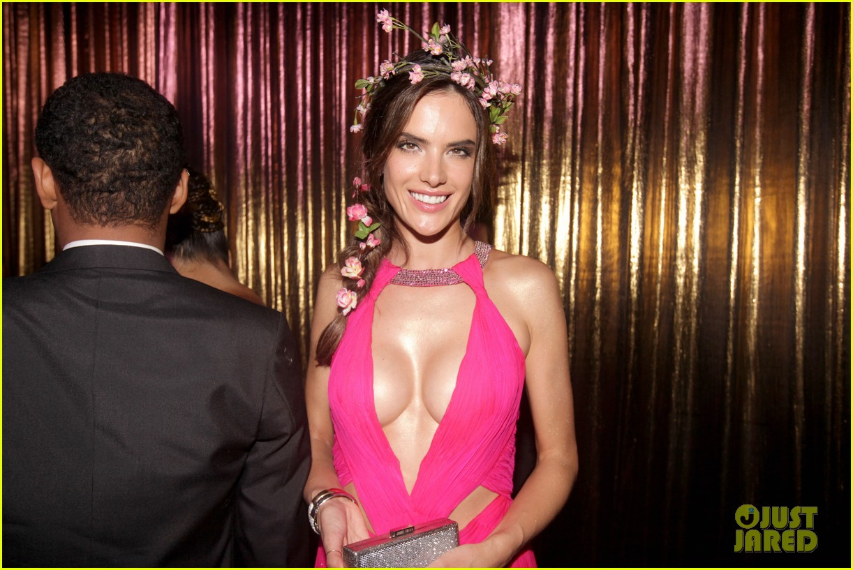 alessandra ambrosio displays all her assets with plunging neckline high slit dress 19