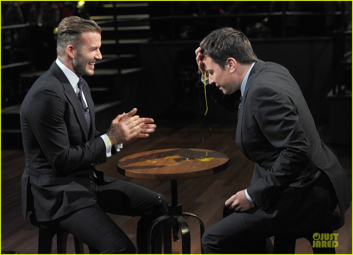 david beckham rocks yolk for egg russian roulette on fallon 05