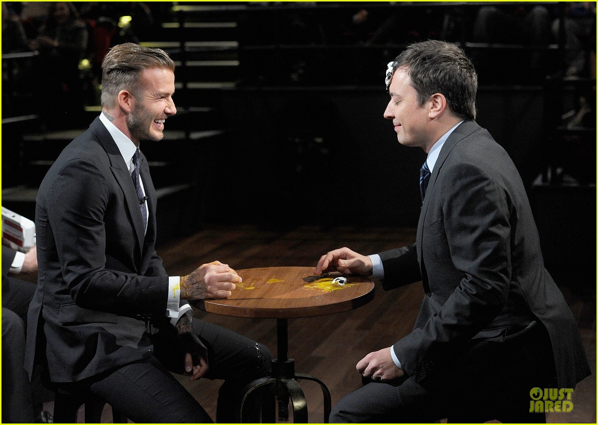 david beckham rocks yolk for egg russian roulette on fallon 173045176