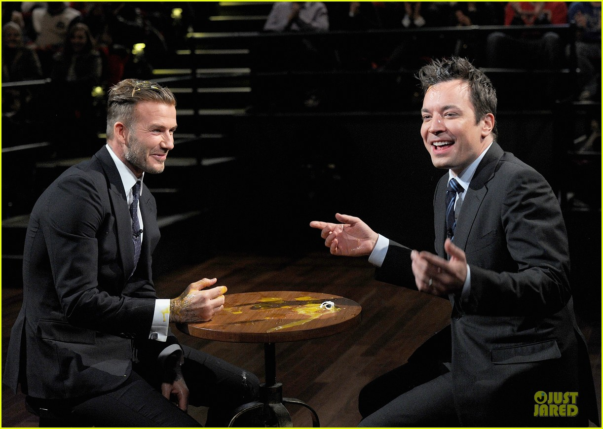 david beckham rocks yolk for egg russian roulette on fallon 21