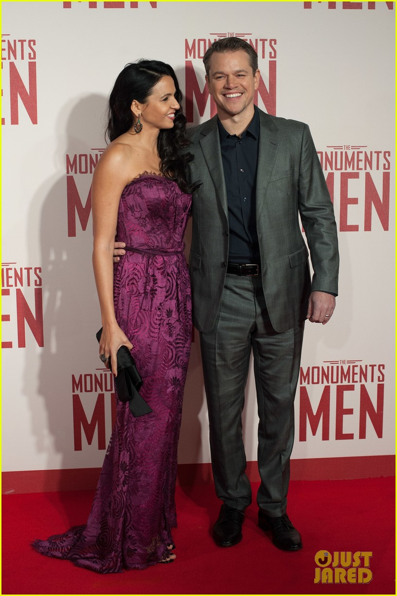george clooney matt damon continue monuments men tour with uk premiere 04