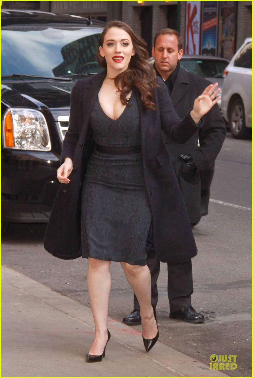kat dennings bares cleavage for 2 broke girls promo tour 12