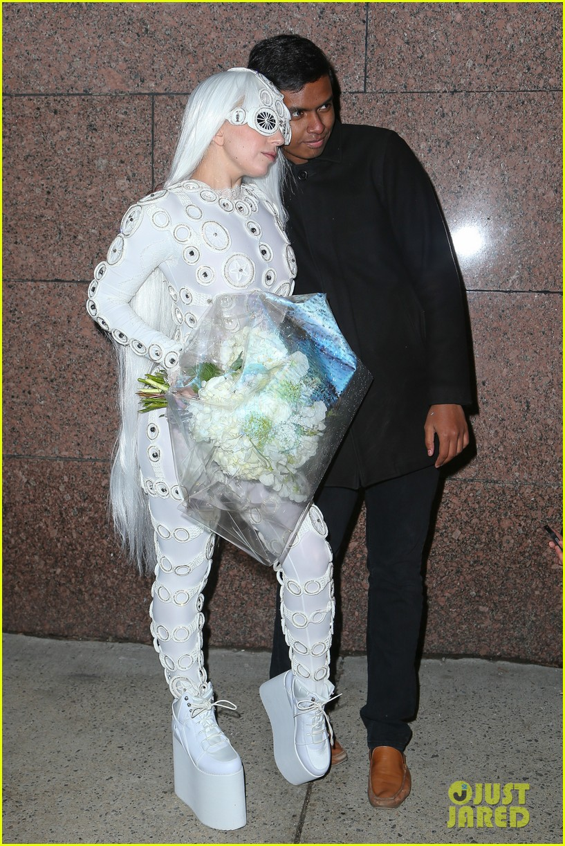 lady gaga is a bride see her throwing a bouquet of flowers 28