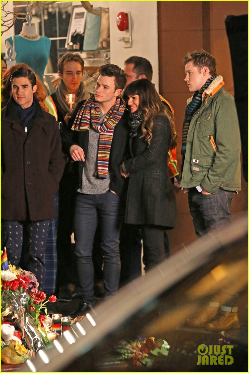 lea michele chris colfer film memorial scene for glee 063060832