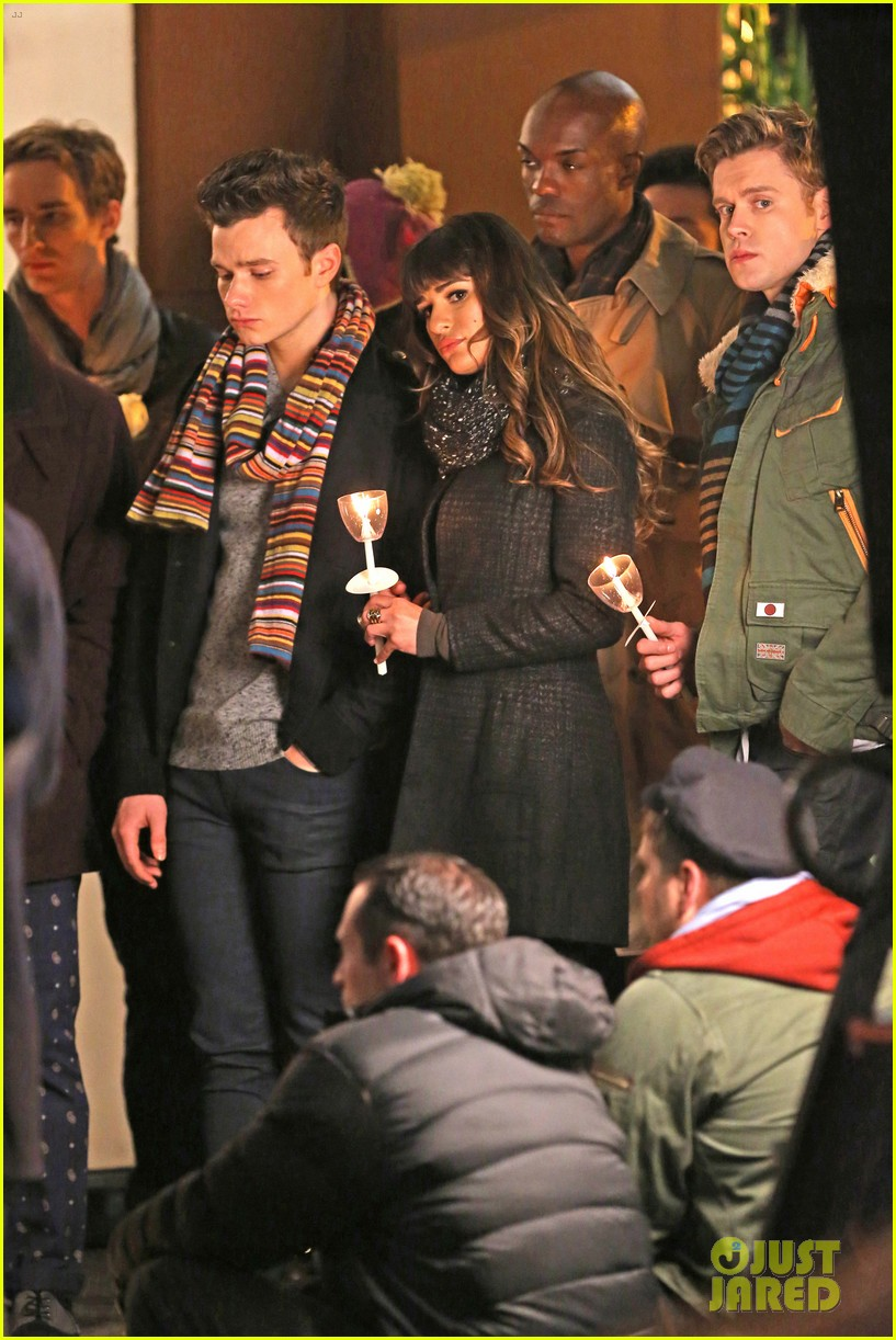 lea michele chris colfer film memorial scene for glee 07