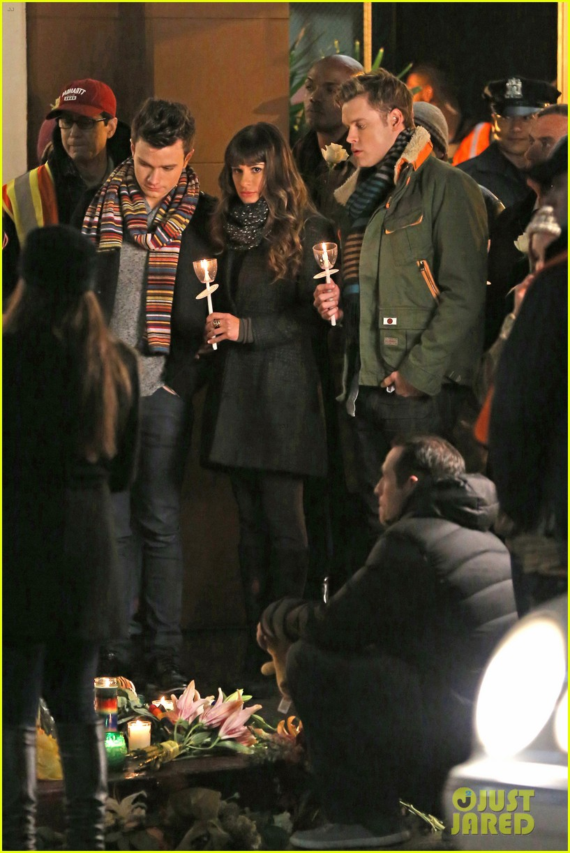 lea michele chris colfer film memorial scene for glee 083060834