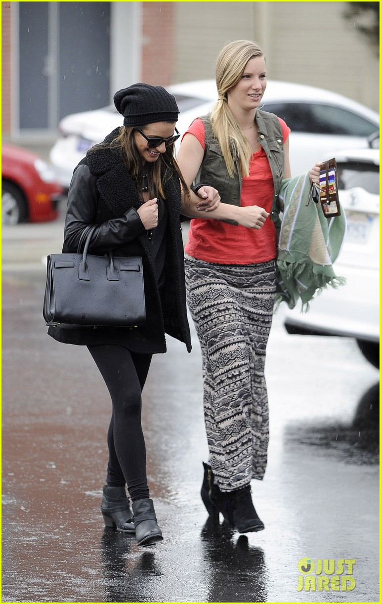lea michele heather morris walk arm in arm in rainy la 023048843