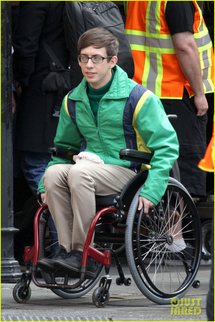 lea michele films glee new york scenes with kevin mchale 173056546