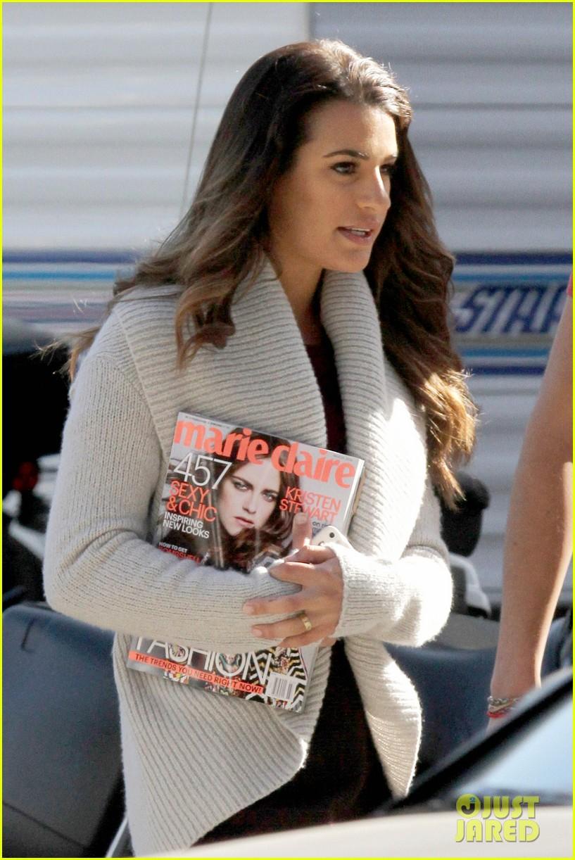 lea michele reads kristen stewarts marie claire magazine issue 09