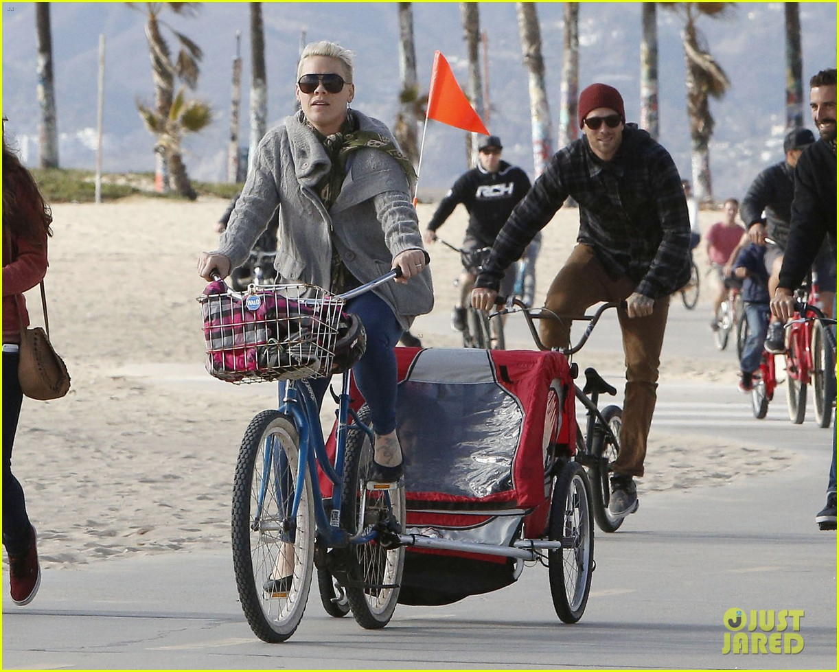pink goes for bike ride after finishing truth about love tour 103046849