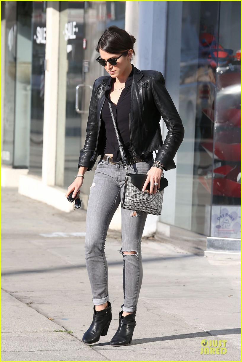 nikki reed rocks leather for spot shopping 163058513
