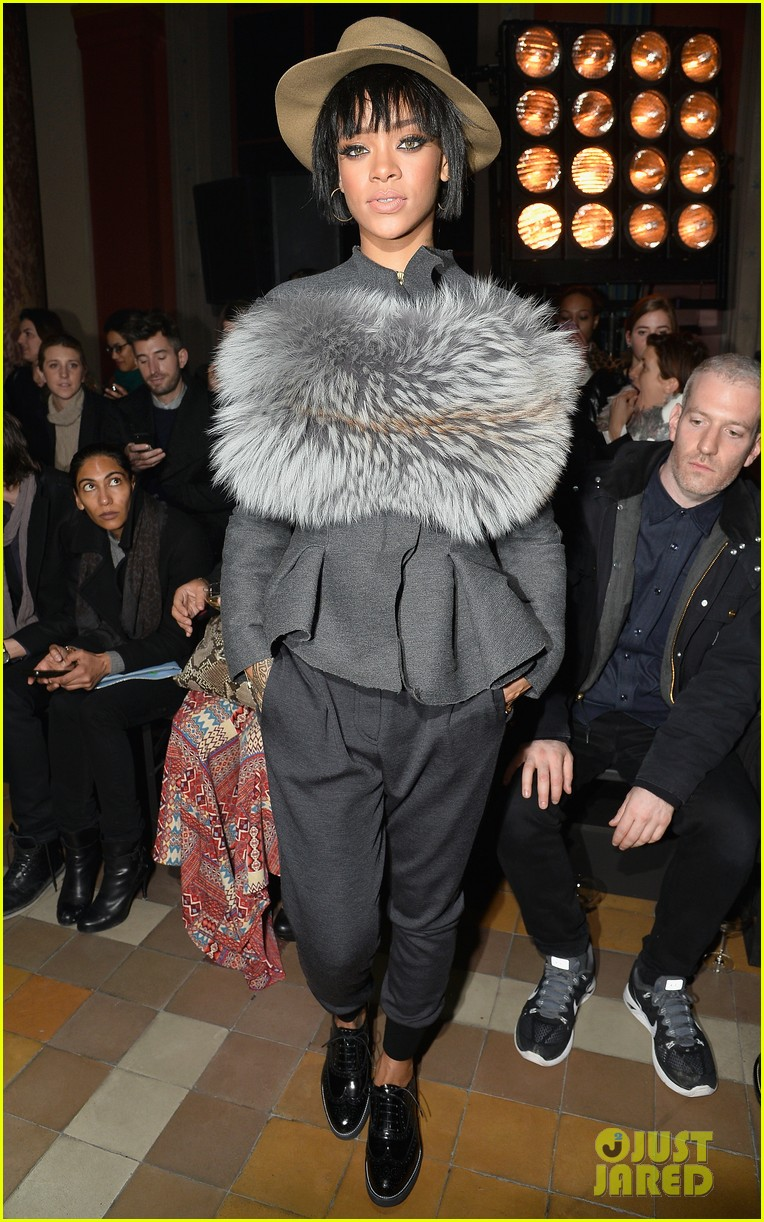 rihanna wears her fur at lanvin paris fashion show 01