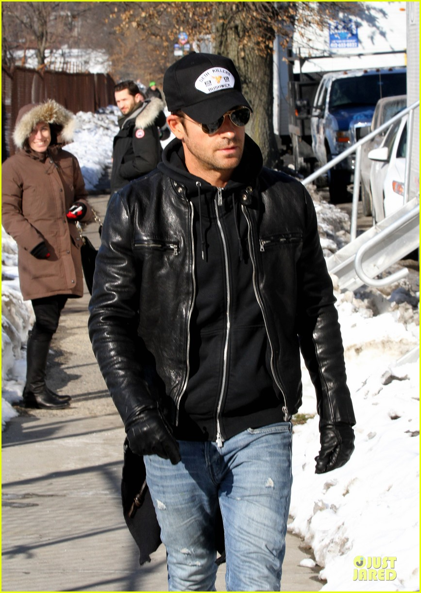 justin theroux films the leftovers on jennifer aniston 45th birthday 02