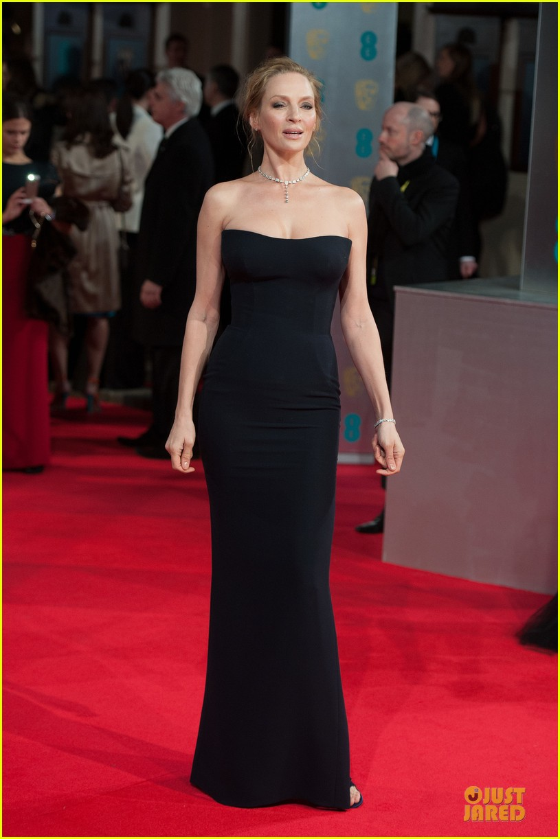 uma thurman baftas 2014 red carpet 01