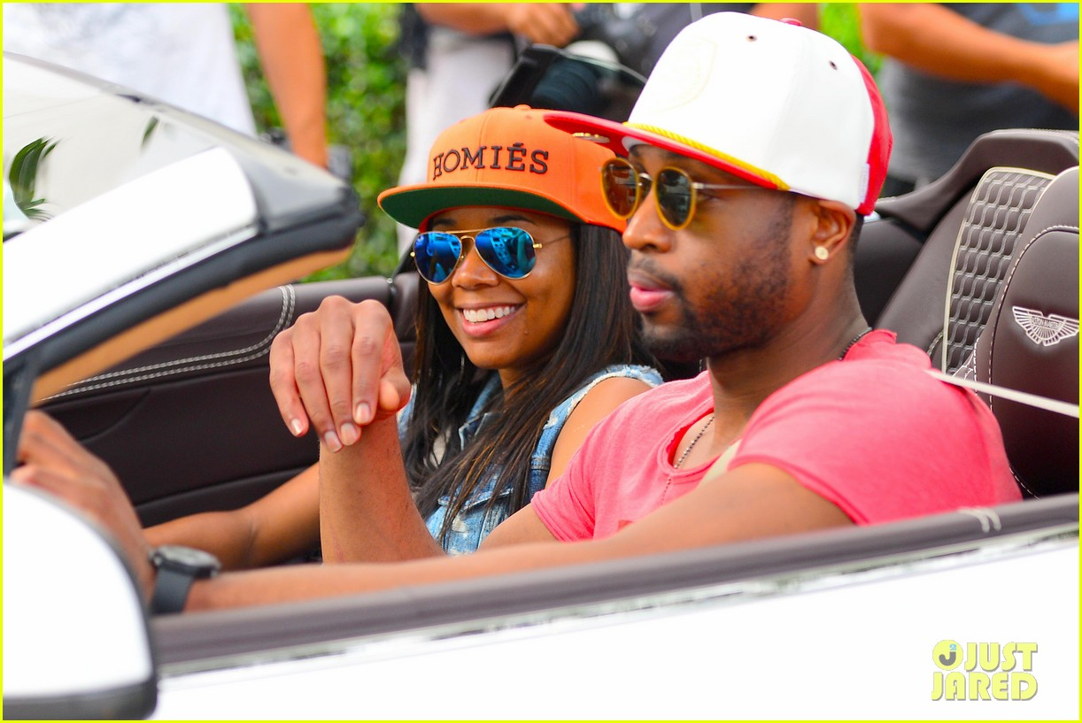 gabrielle union dwyane wade cruise around with the top down in miami 03
