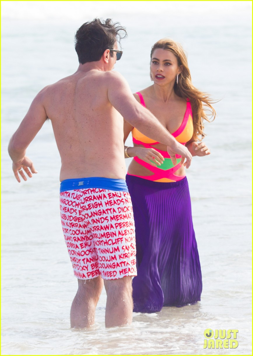 sofia vergara rocks multi colored monokini for modern family filming 28