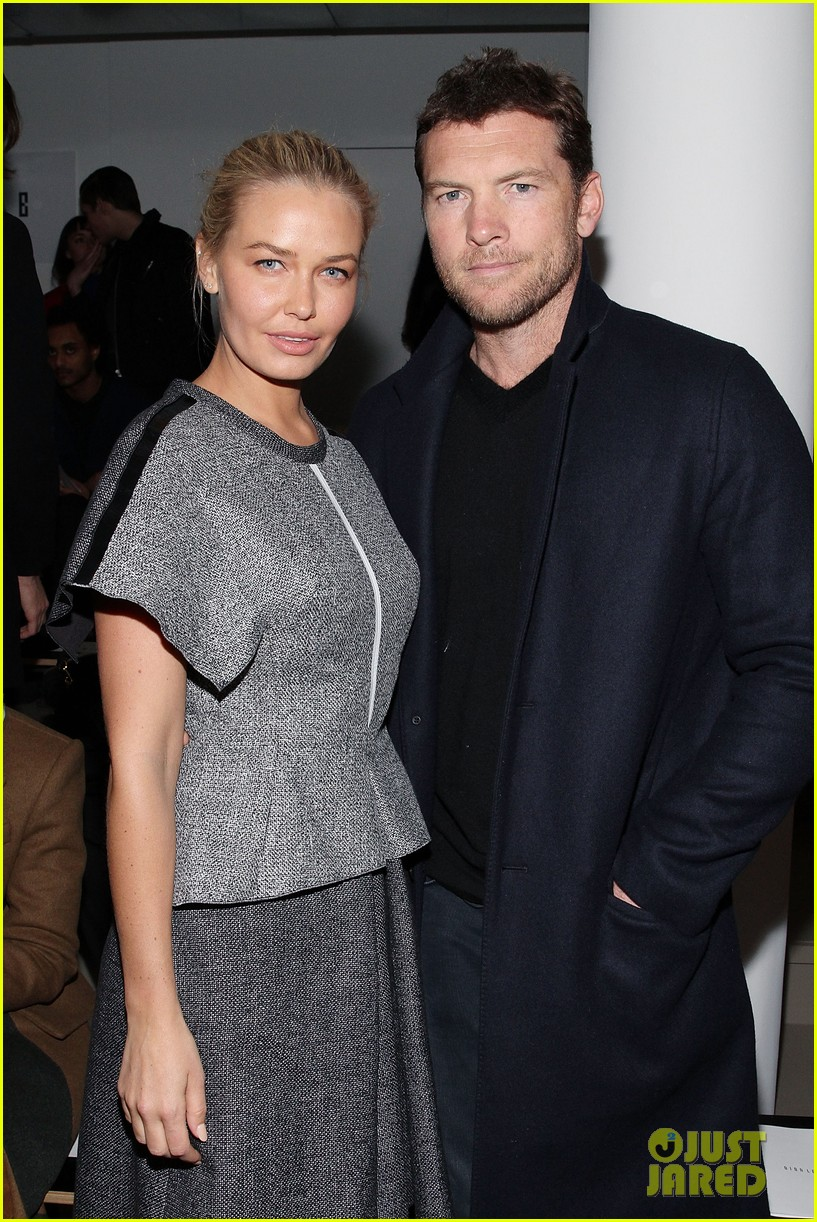 sam worthington lara bingle warm up at dion lee show 073049016
