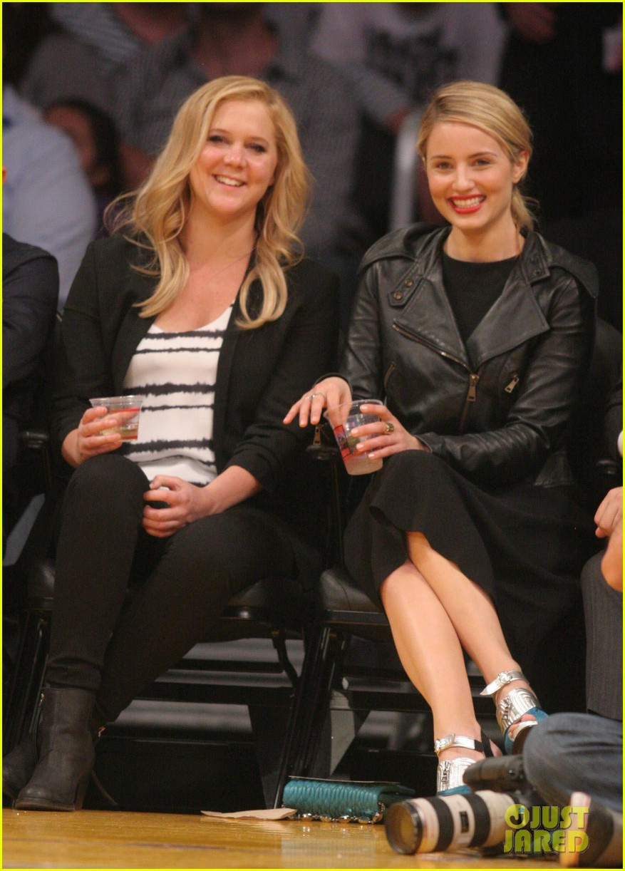 dianna agron amy schumer lakers game 05