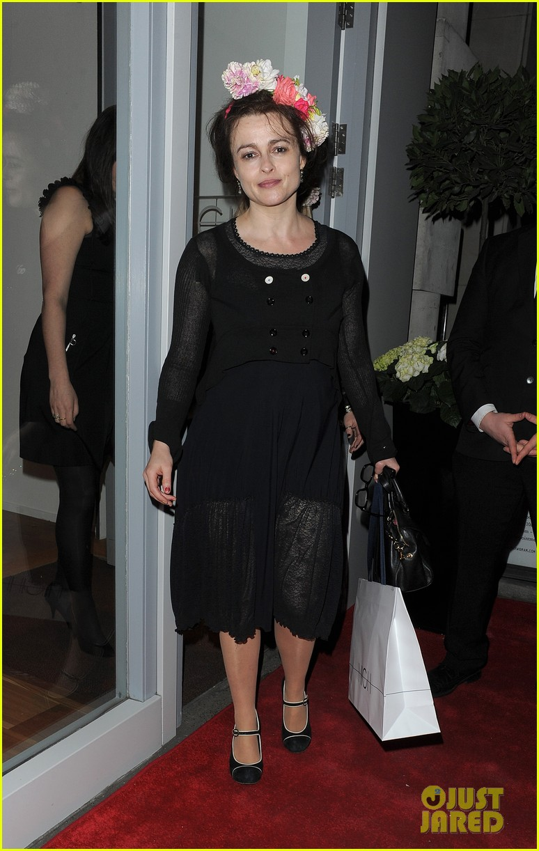 helena bonham carter wears a headband full of flowers to high opening 063075281