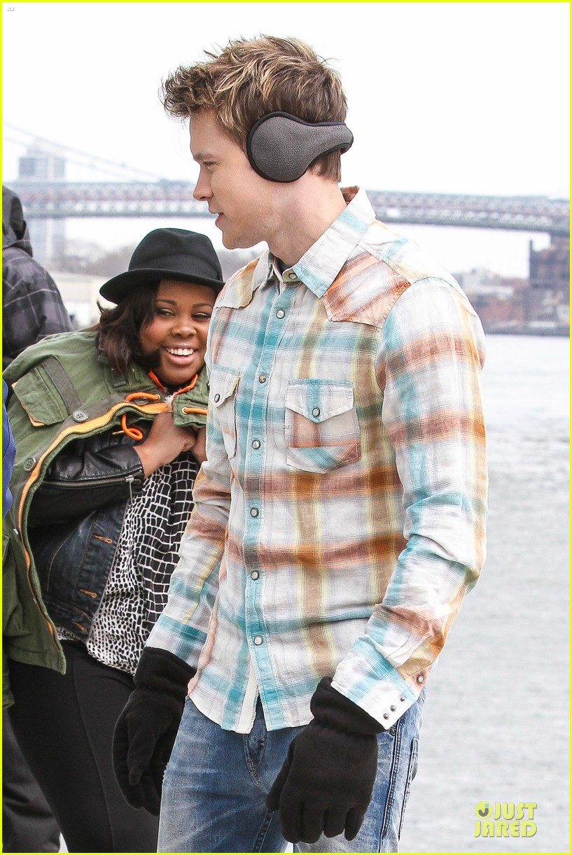 chord overstreet give amber riley jacket to stay warm 213074536