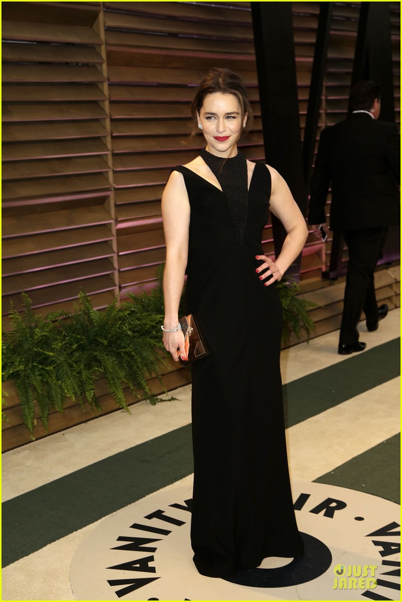 emilia clarke wows with an intricate neckline at vanity fair oscars party 2014 033064245