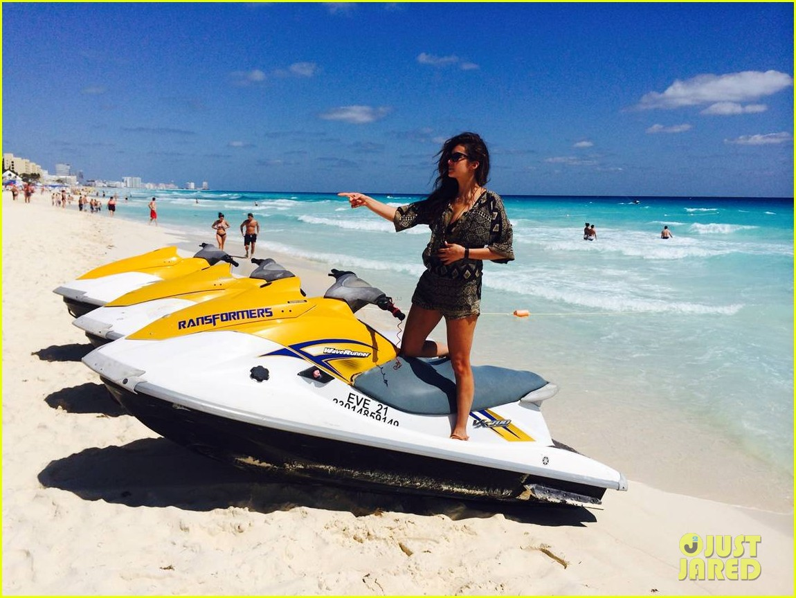nina dobrev wears chic cover up over her bikini on cancun vacation 023067210