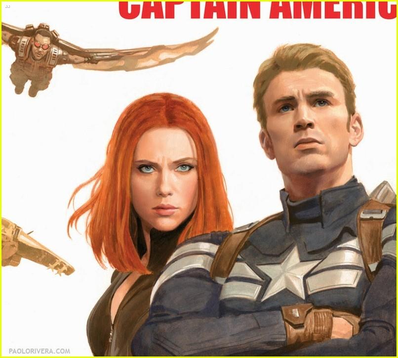 chris evans scarlett johansson go retro captain america poster 04