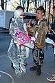 lady gaga shines in silver foil outfit 11