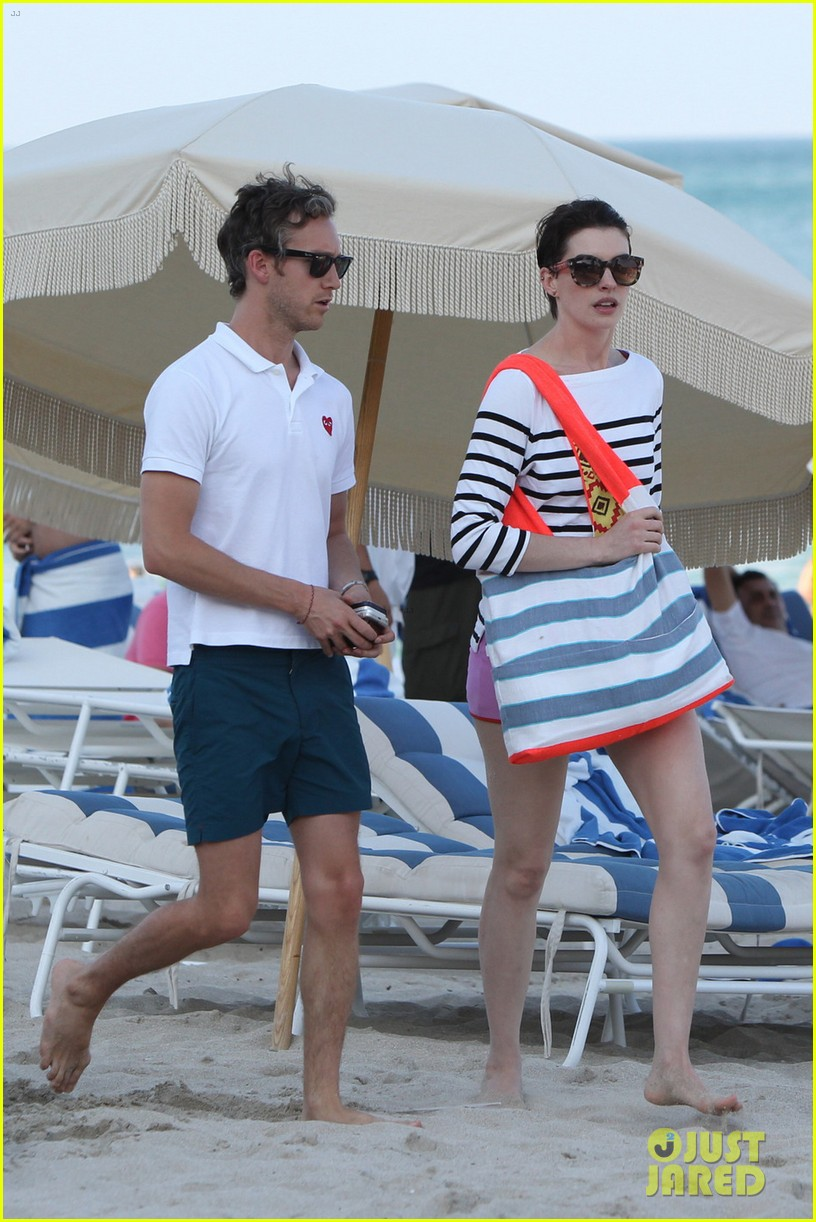 anne hathaway heads back for more beach fun in miami 01