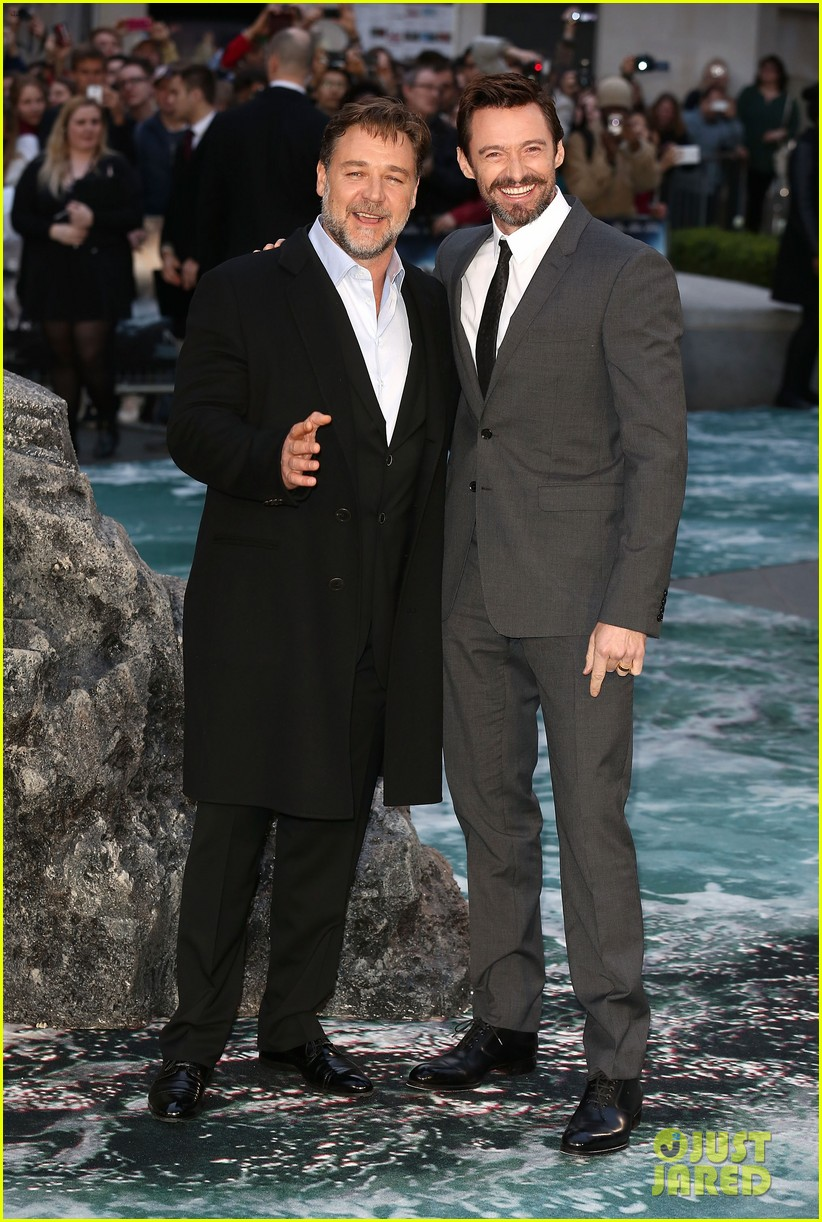 hugh jackman supports russell crowe noah uk premiere 033082413