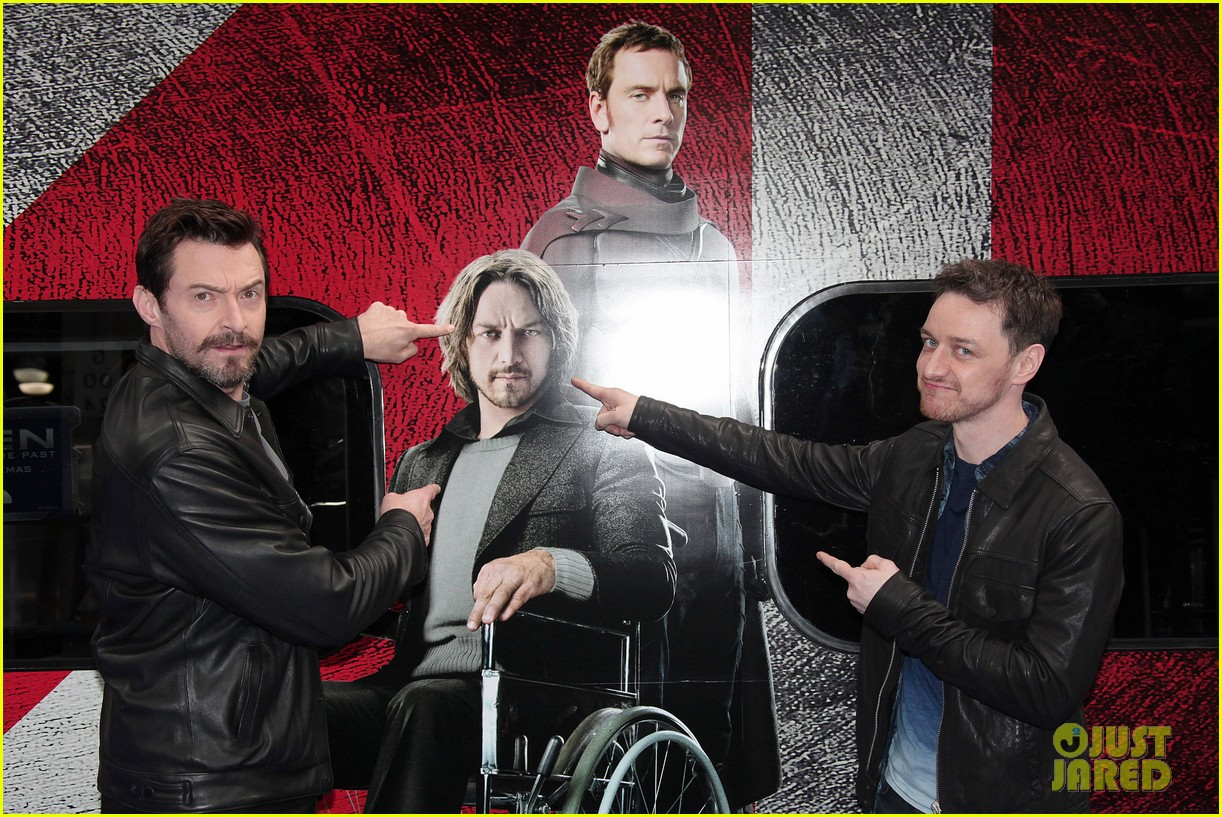 hugh jackman james mcavoy embrace bromance at x men days of future past train unveiling 143082118
