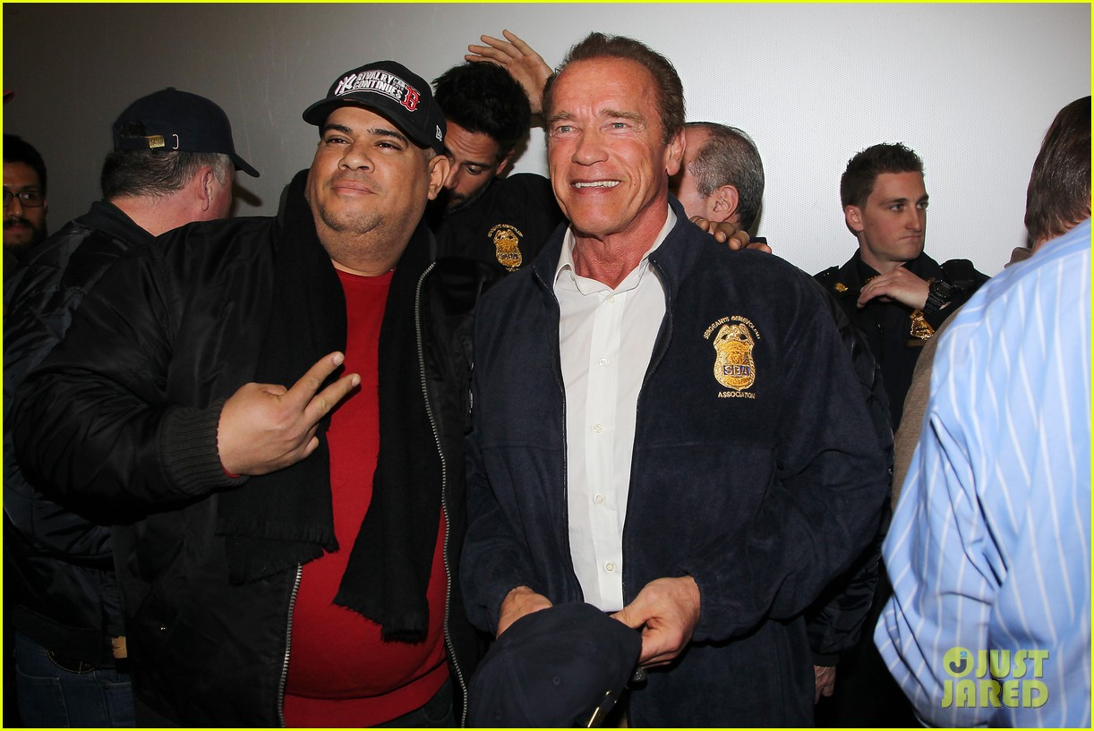 joe manganiello arnold schwarzenegger surprise nyc law enforcement 17