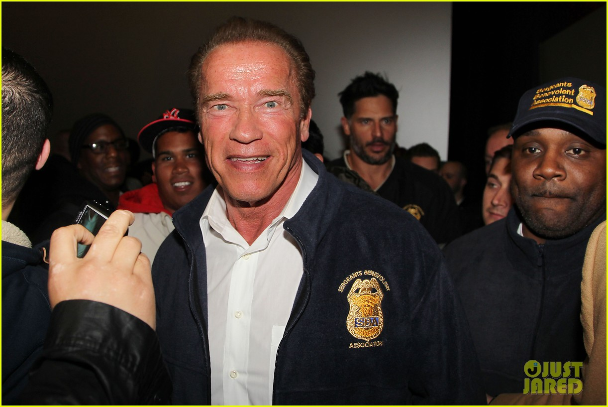 joe manganiello arnold schwarzenegger surprise nyc law enforcement 18