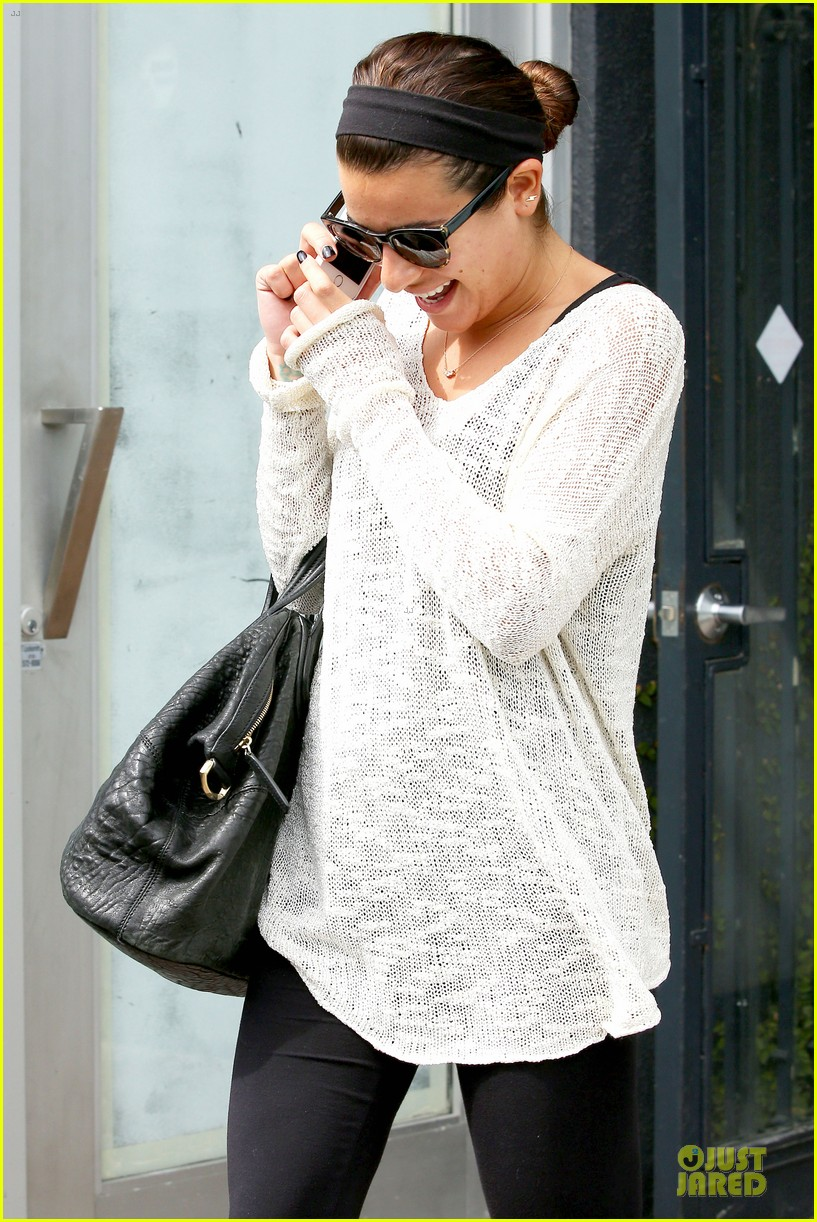 lea michele rocks black nails before meeting fans in la 06